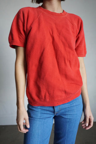 Faded Red Short Sleeve Sweatshirt, Sz. M