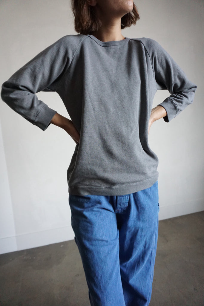 SALE Charcoal Gray Raglan Sweatshirt, Sz. S