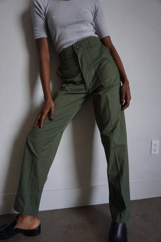 "SALE High Waisted Army Pants, Cotton Blend,  Sz. 27"" x 32"""