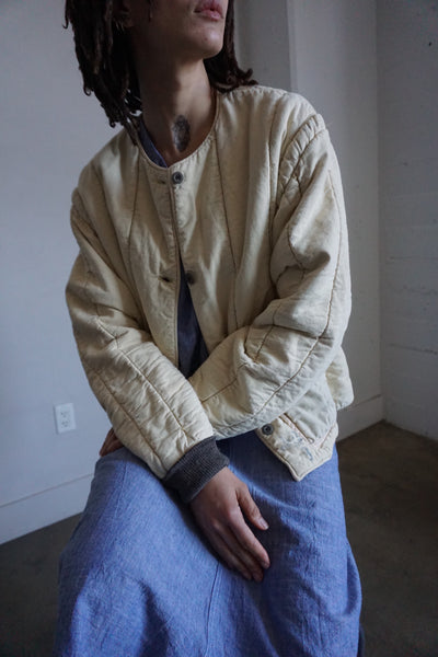 Wheat Czech Quilted Cotton Jacket, Nude Trim, Multiple Sizes