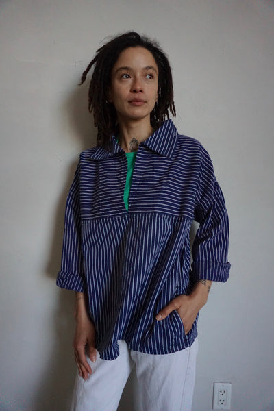 Navy Stripe Cotton Sailor Shirt, Sz. L