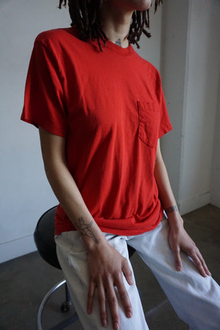 70s Red Pocket Tee, Sz. M