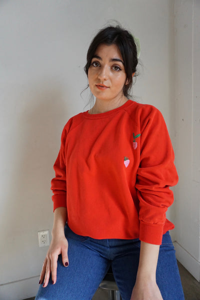 Embroidered Strawberry Raglan Sweatshirt, Sz. L