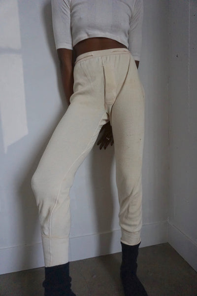 High Waist Cream Knit Pant, Sz. M