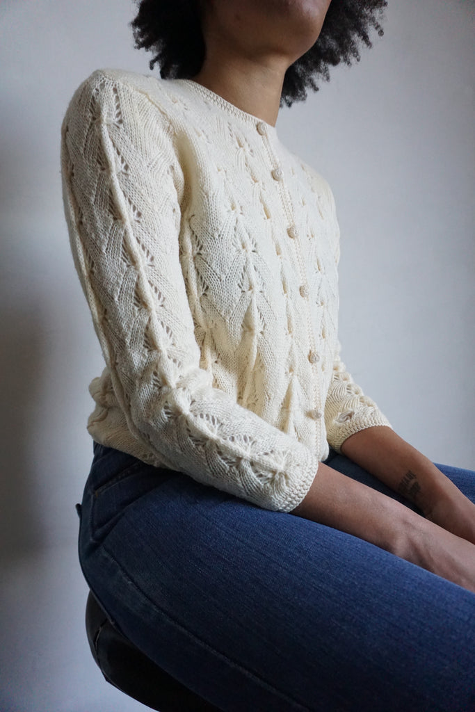 SALE Ivory Wool Cable Knit Cardigan, Sz. S