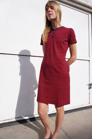 SALE Striped Cotton Dress 70s Sz. S-M