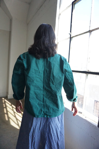 Chore Jacket Green Cotton, Sz. M