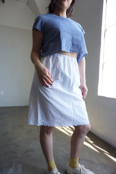 White Cotton Eyelet Slip Skirt, Sz. S - M