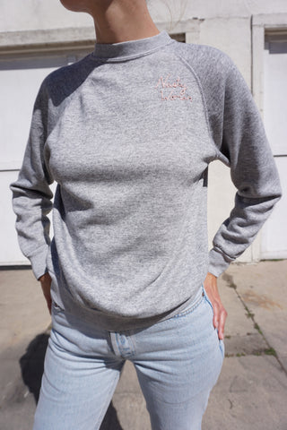 Nasty Woman Embroidered Sweatshirt, Medium Gray