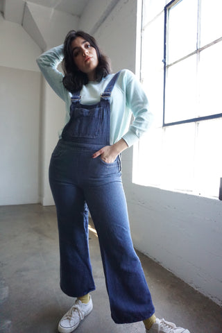 "SALE 70s Dark Denim Bell Bottom Overalls, Sz. Up to 29"" Waist"