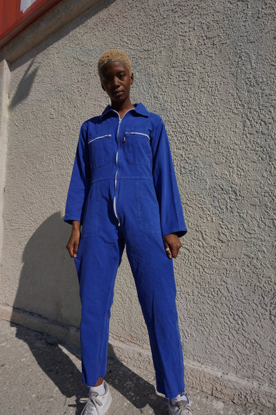 "SALE 70s Jumpsuit, Washed Royal Blue Cotton, Sz. Up to 31"" Waist"