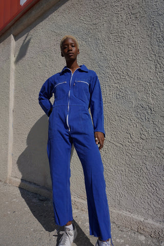 "70s Jumpsuit, Washed Royal Blue Cotton, Sz. Up to 31"" Waist"