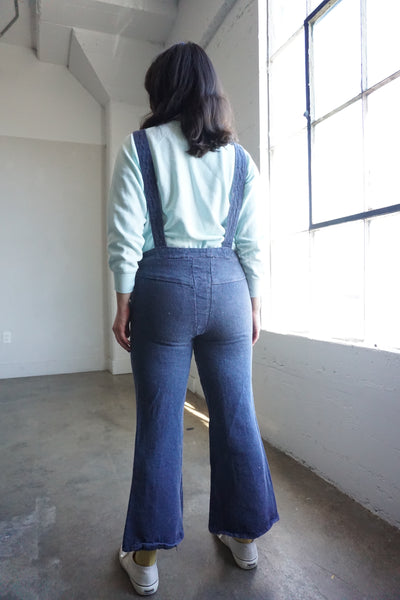 "70s Dark Denim Bell Bottom Overalls, Sz. Up to 29"" Waist"