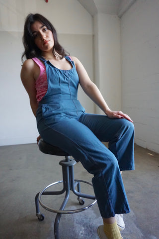 "Teal Blue German Work Wear Overalls, Sz. Up to 28"" Waist"