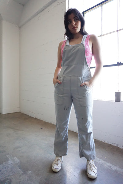 "Light Gray German Work Wear Overalls, Sz. Up to 31"" Waist"