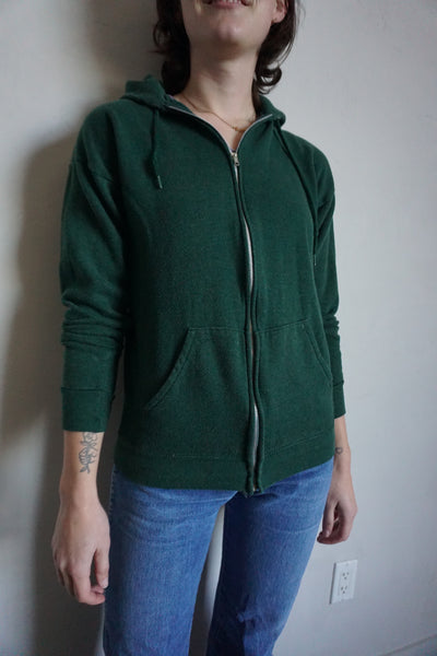 SALE Forest Green Hooded Zip Up Sweatshirt, Sz. M