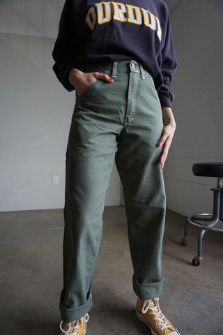 High Waisted Utility Green Painter's Pants, 27.5 x 32.5