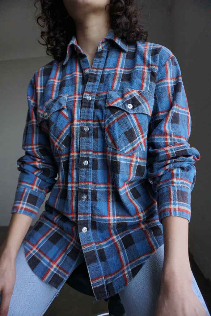 80s Plaid Flannel Shirt, Sz. M