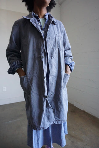 80s Smoke Gray Long Chore Jacket, Sz. M