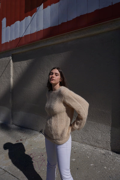 SALE Cream Mohair Sweater, Sz. M-L