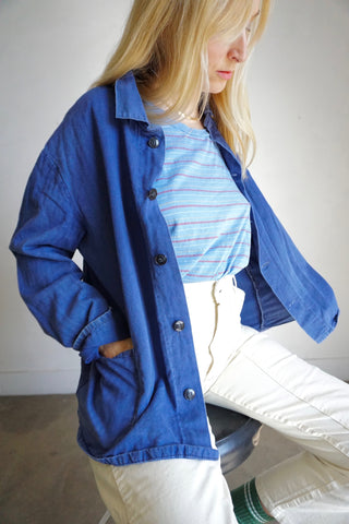 70s Royal Blue Herringbone Cotton Chore Jacket, Sz. M