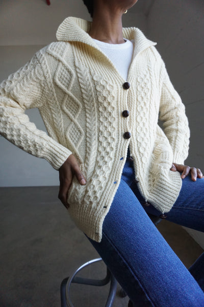 SALE Cable Knit Wool Cardigan, Sz. M