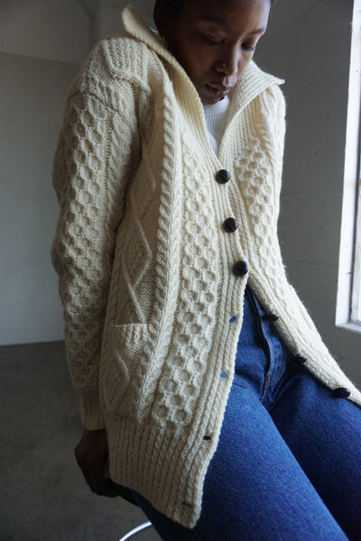 Cable Knit Wool Cardigan, Sz. M