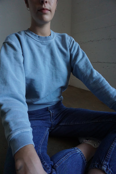 90s Light Blue Cotton Sweatshirt, Sz. S