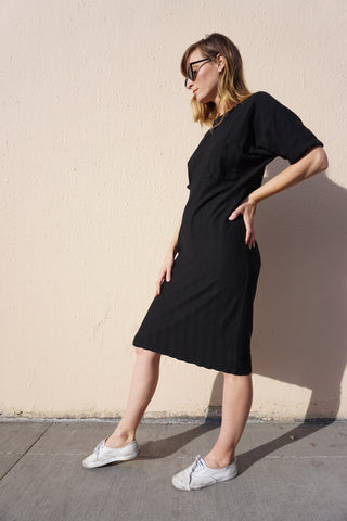SALE Black Cotton Knit T-shirt Dress, Multiple Sizes