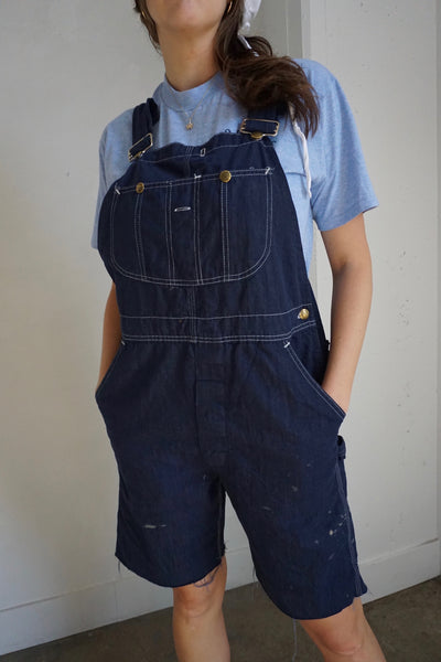 1970s Sears Dark Denim Overall Shorts, Sz. Up to 34 Waist