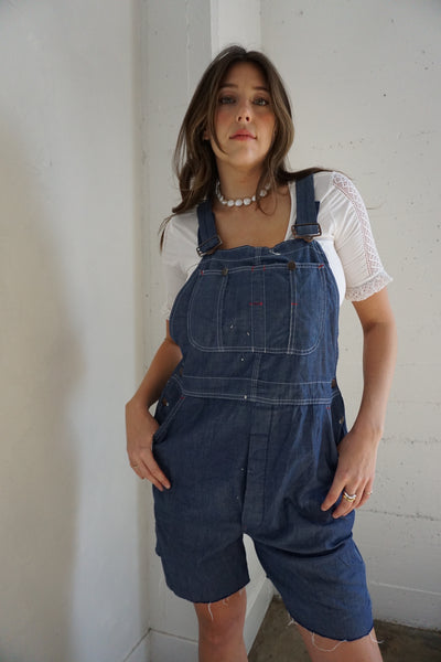 70s Denim Overall Shorts, Sz. Up to 34 Waist