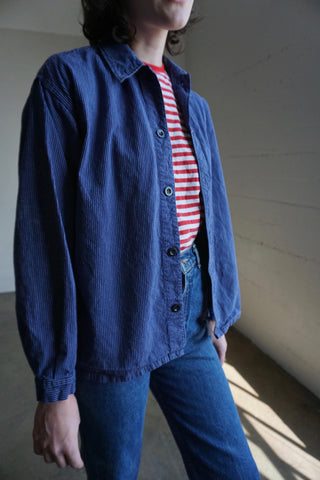 SALE Navy Pin Stripe Chore Shirt, Sz. S - M