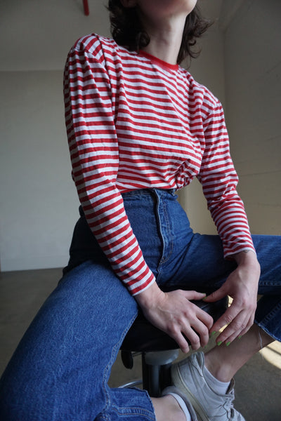 Red Striped Crew Neck Shirt, Sz. M