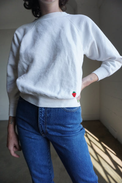Strawberry Embroidered White Sweatshirt, Sz. S
