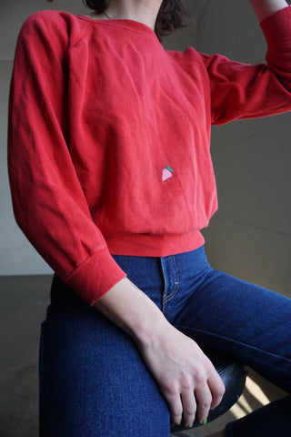 Strawberry Embroidered Red Sweatshirt, Sz. S