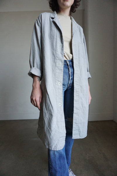 SALE Chore Jacket Pearl Gray Cotton, Sz. M - L