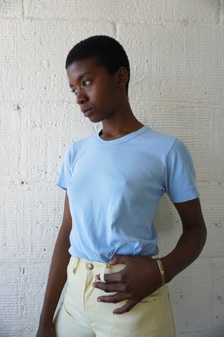 70s Light Blue T shirt, Made in France, Sz. M