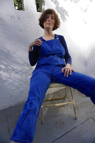 "Blue Cotton Twill Overalls, Sz. Up to 34"" Waist"