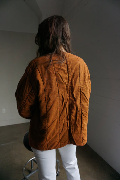 Rust Czech Quilted Cotton Jacket Sz. M