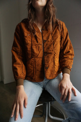 Rust Czech Quilted Cotton Jacket Sz. XS - S