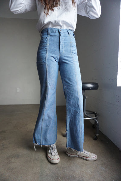 70s High Waisted Bell Bottom Jeans, Sz. 28 x 30.5