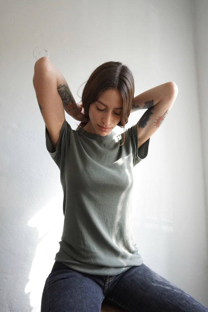 SALE Army Green Cotton T Shirt, Made in France, Sz. M