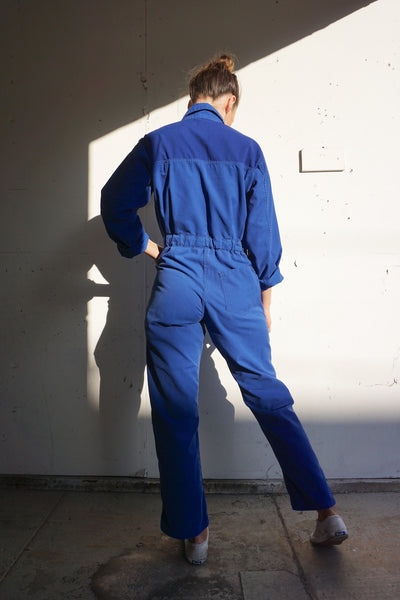 70s Coveralls Two Tone Blue Cotton Blend, Sz. Up to 28.5 Waist