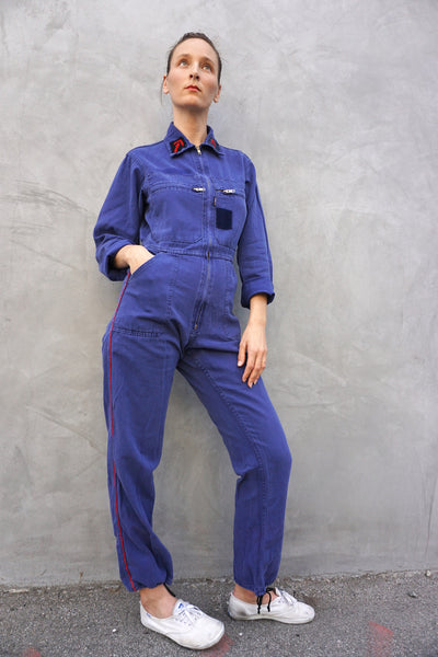 Jumpsuit Washed Blue Twill w/ Drawstring Cuff & Gold Tone Zippers, Sz. Up to 28 Waist