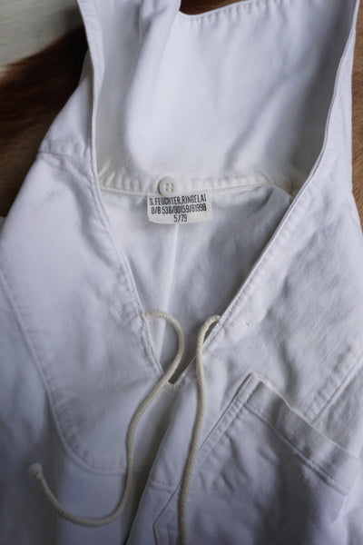 SALE 1970s White Cotton Sailor Shirt, Sz. M