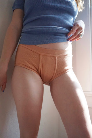 Ribbed Cotton Boy Shorts, Clay, Multiple Sizes