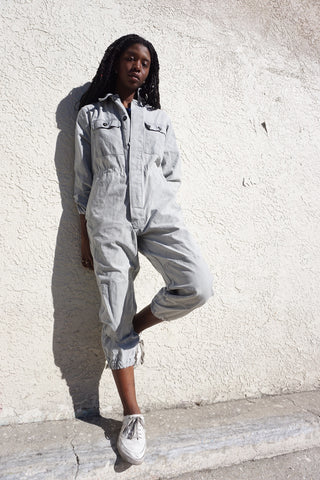 Jumpsuit Washed Gray Cotton w/ Elastic Cuffs, Sz. Up to 36 Waist