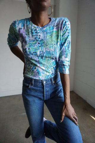 SALE Impressionist Printed Top, Sz. M