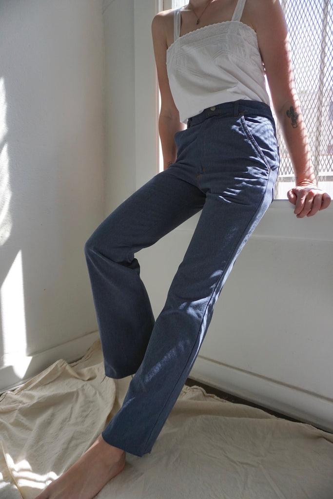 High Waisted Chambray Trouser Jeans, Sz. 27 x 30