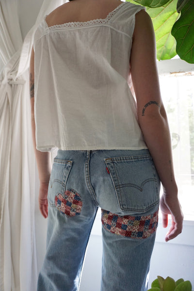 Heart Patched Levi's 501 Jeans, Sz. 28 x 29